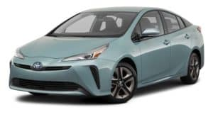 A light blue 2021 Toyota Prius is angled left.