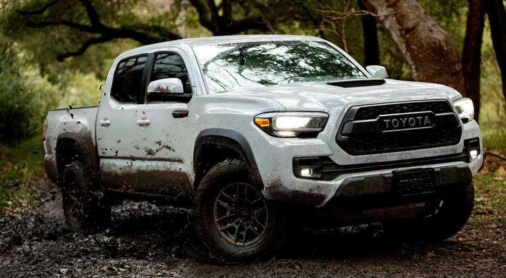 A white 2021 Toyota Tacoma is off-roading in the mud.