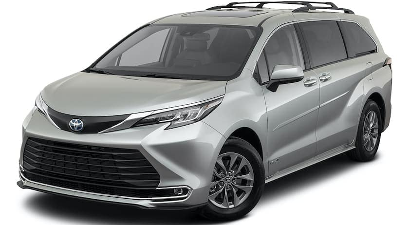 A silver 2021 Toyota Sienna is angled left.