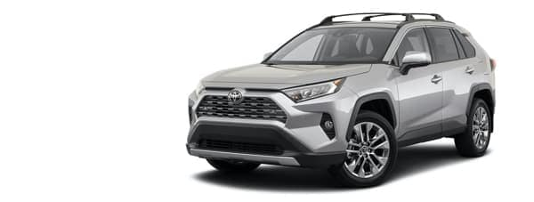 A silver 2021 Toyota RAV4 is angled left.