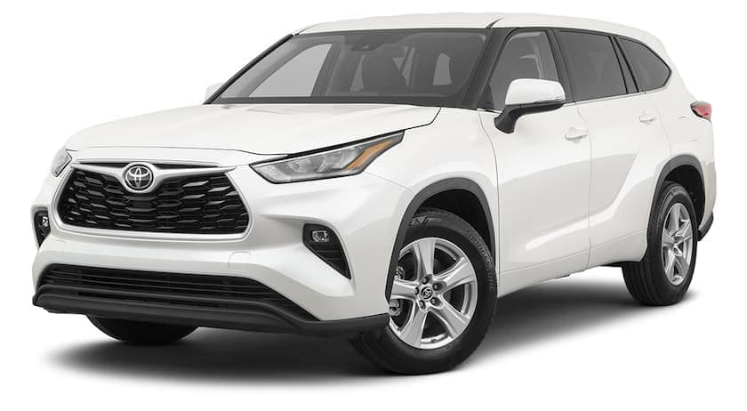 A white 2021 Toyota Highlander is angled left.