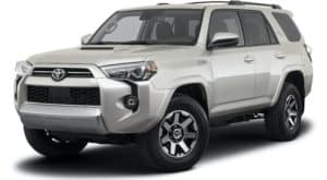 A silver 2021 Toyota 4Runner TRD Off-Road is angled left.