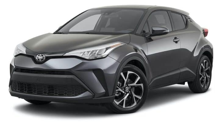 A grey 2021 Toyota C-HR XLE is angled left.
