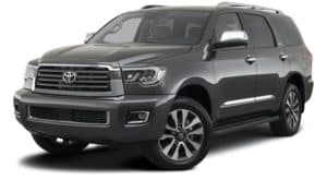 A grey 2021 Toyota Sequoia Limited is angled left.