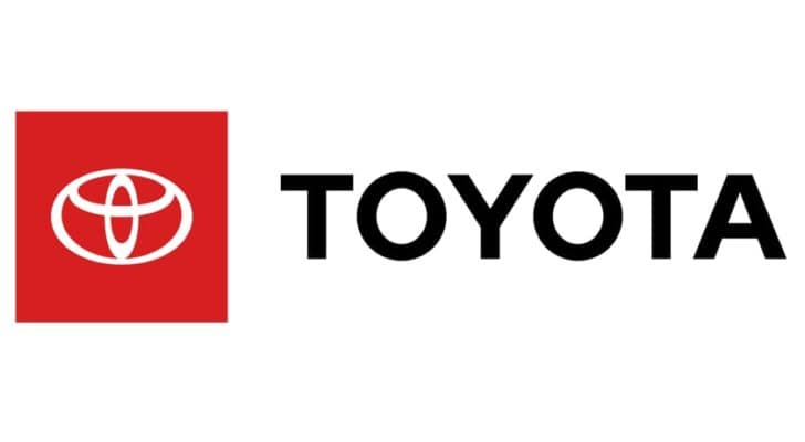 The Toyota logo is shown against a white background.