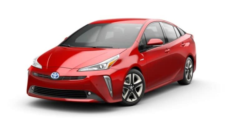 A red 2022 Toyota Prius XLE AWD is angled left.
