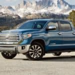 A blue 2020 Toyota Tundra is shown from the side after leaving a used Toyota Tundra dealer.