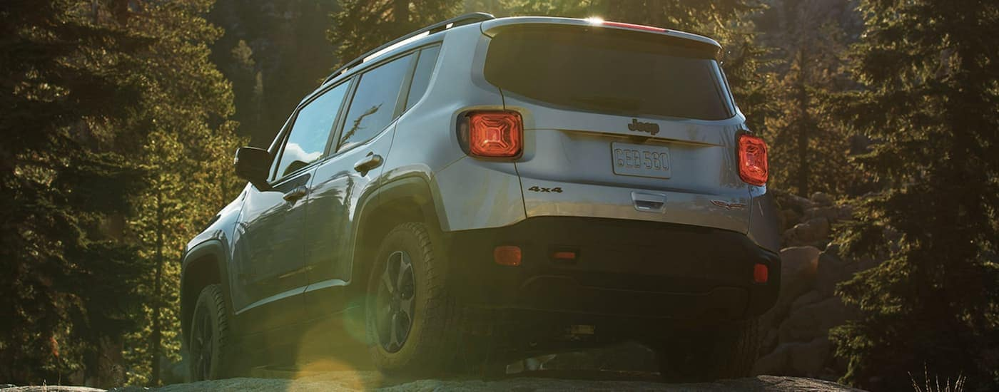 A silver 2020 Jeep Renegade is shown from the rear off-roading with a sun flare.