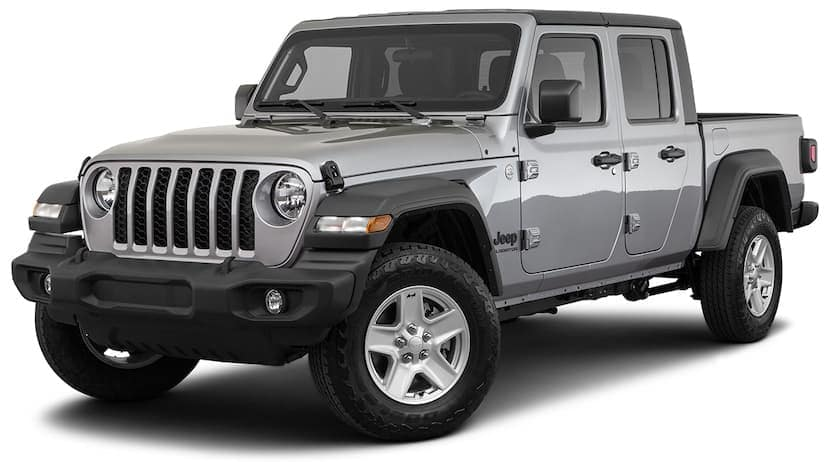 A silver 2020 Jeep Gladiator Sport S is angled left on a white background.
