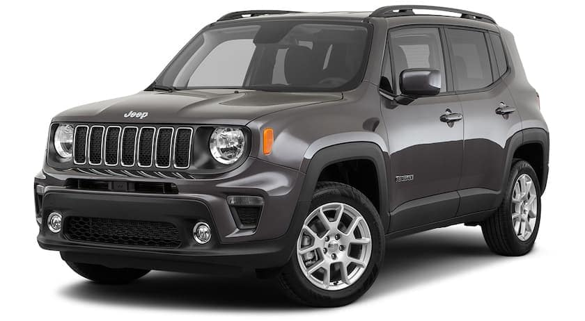 A gray 2020 Jeep Renegade Latitude is angled left on a white background.
