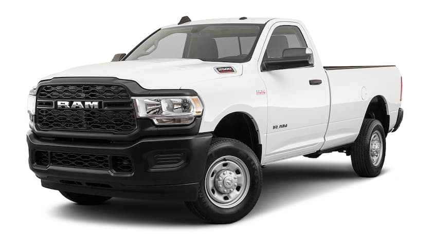 A white 2020 Ram 2500 is facing left.