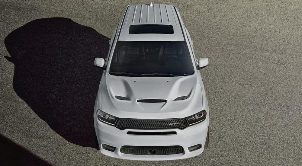 A white 2020 Dodge Durango SRT is shown from the front from a high angle.