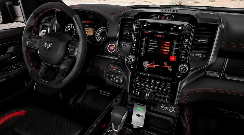 The infotainment features in a 2021 Ram 1500 TRX are shown.