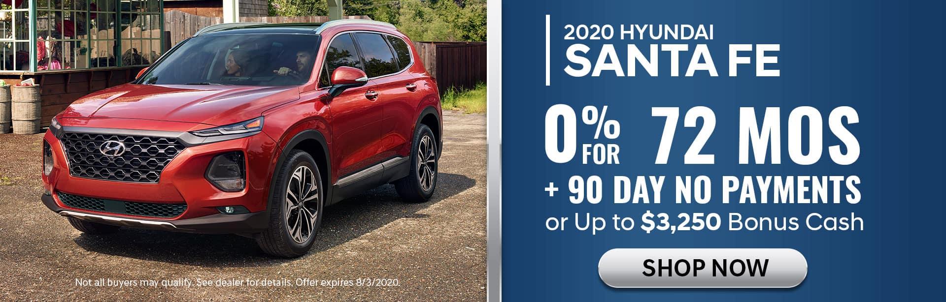 0% APR for 72 mos on 2020 Santa Fe