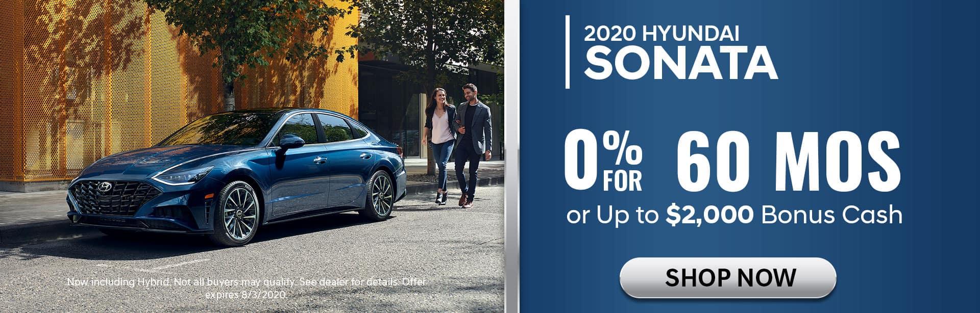 0% APR for 60 mos on 2020 Sonata