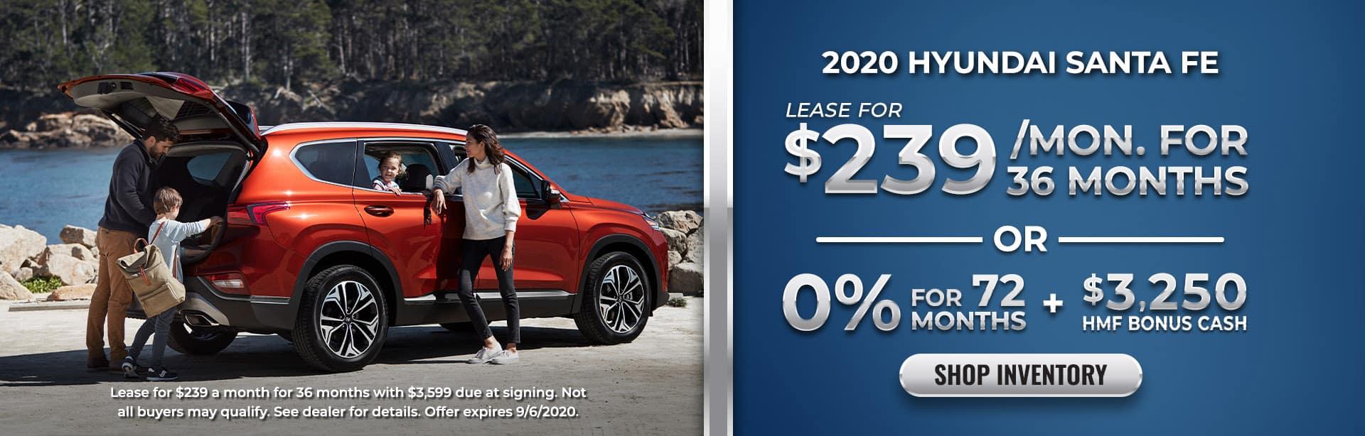 Lease or finance 2020 Santa Fe at Ed Voyles Hyundai of Smyrna, GA