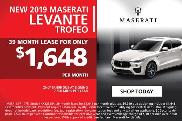 2019 Levante Trofeo Lease Special!