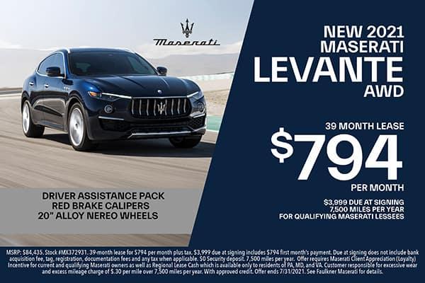 New 2021 Maserati Levante Lease