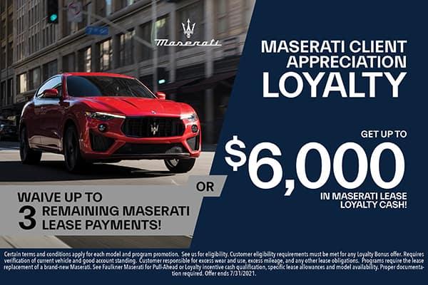 Maserati Lease Loyalty Cash