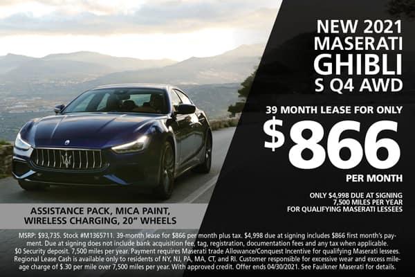New 2021 Maserati Ghibli Lease