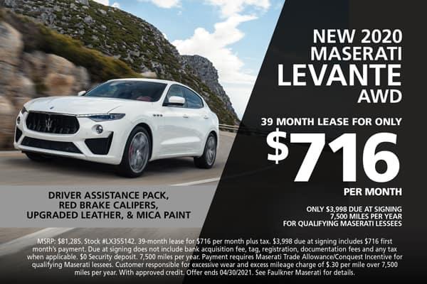 New 2020 Maserati Levante Lease