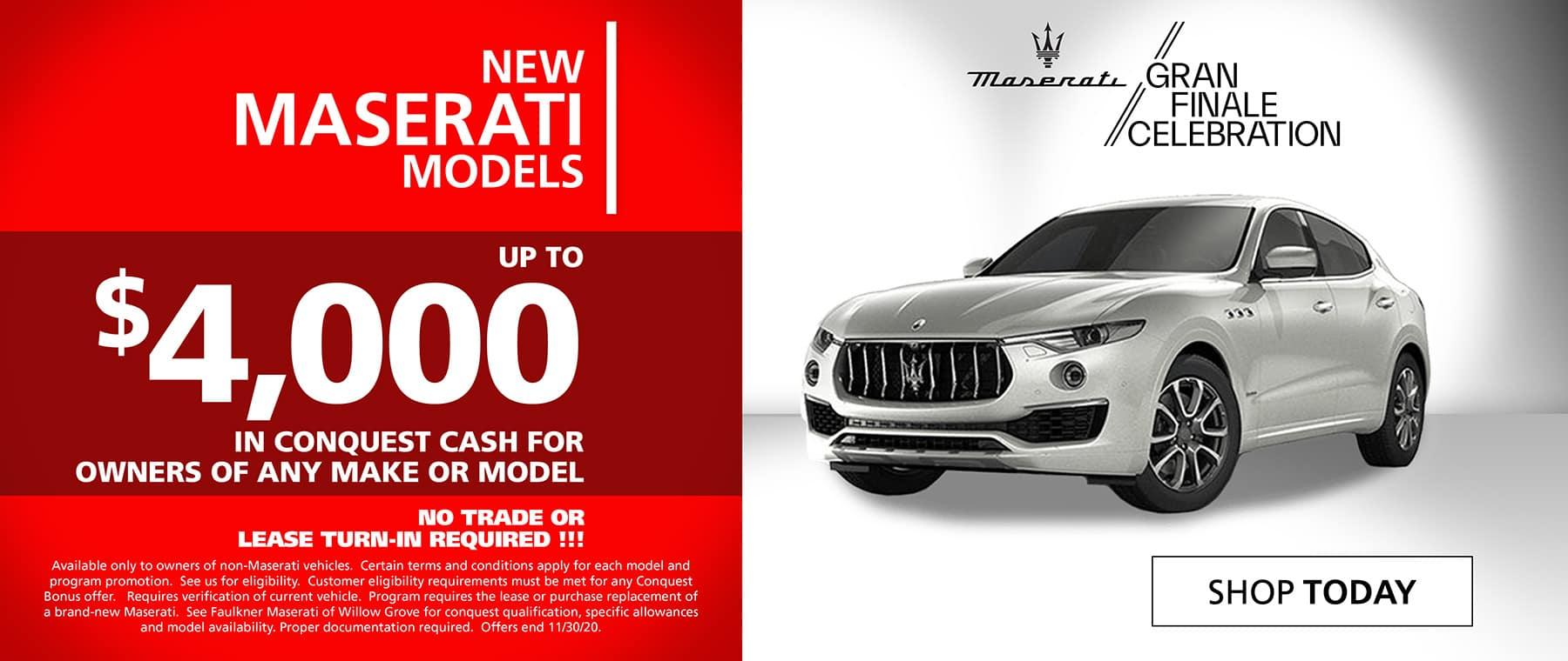 New Maserati with Conquest Cash