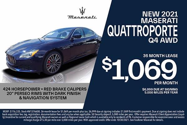 New 2021 Maserati Quattroporte Lease