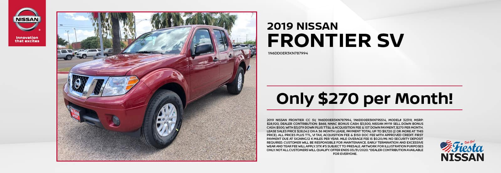 2019 Nissan Frontier SV at Fiesta Nissan in Edinburg, TX