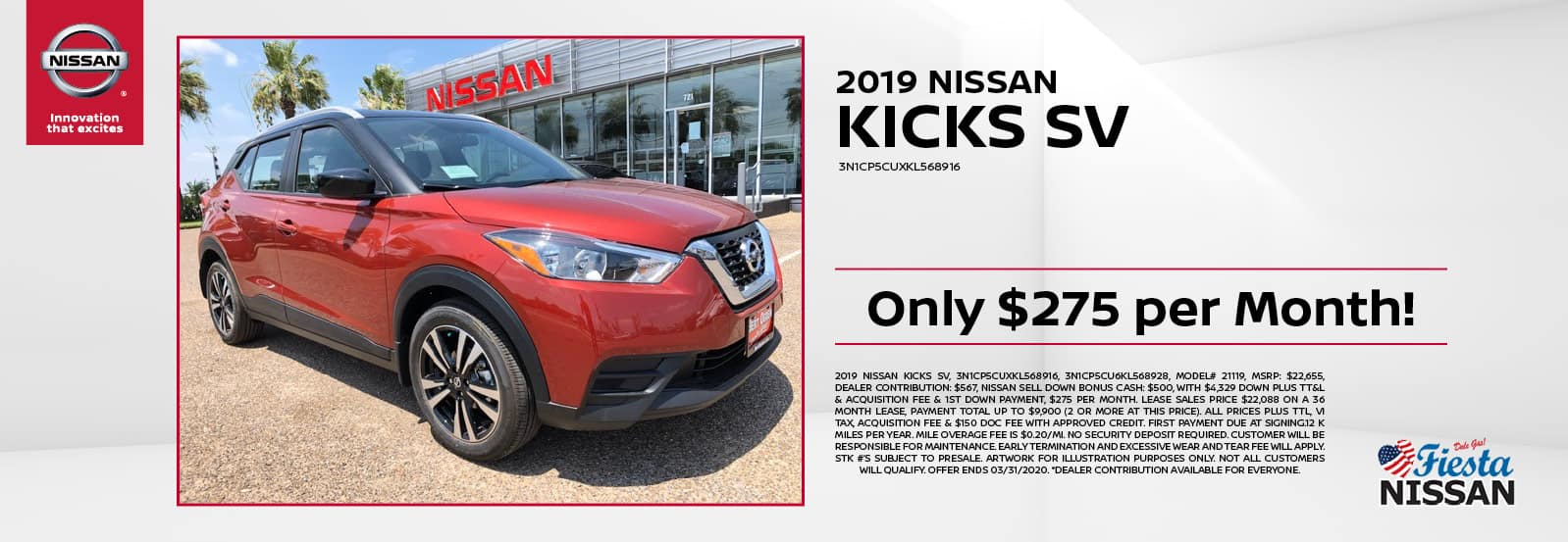 2019 Nissan Kicks SV at Fiesta Nissan in Edinburg, TX