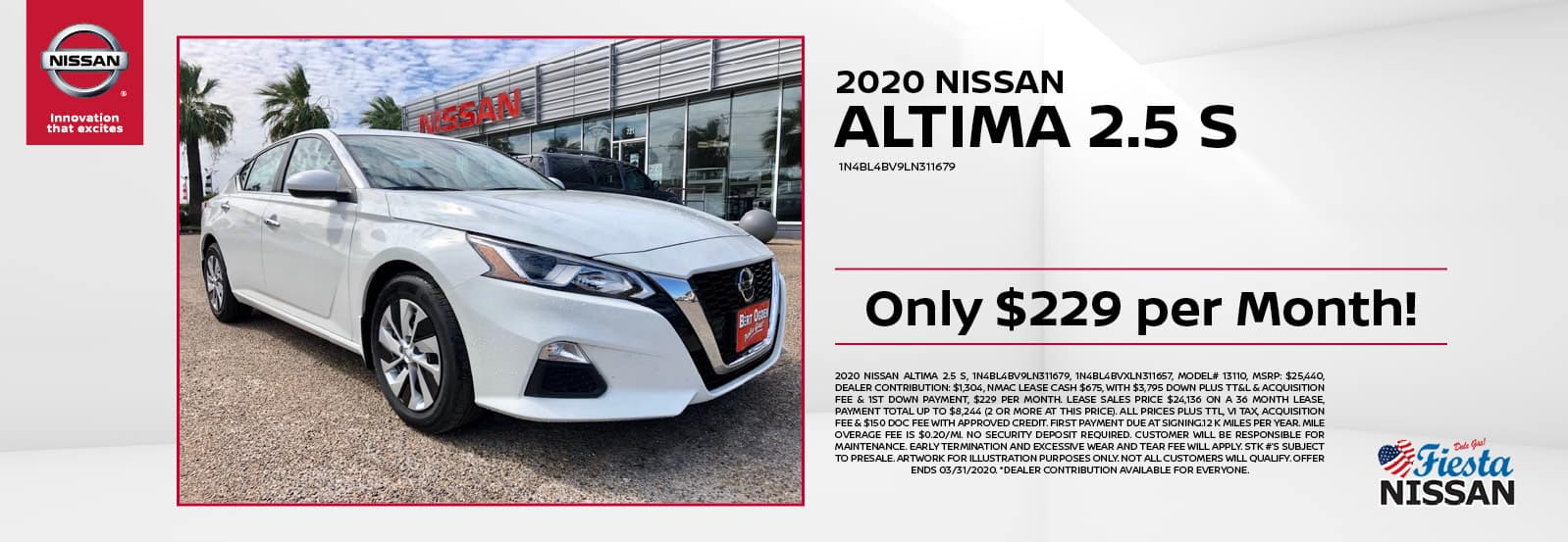 2020 Nissan Altima 2.5 S at Fiesta Nissan in Edinburg, TX