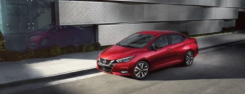A red 2020 Nissan Versa - Fiesta Nissan in Edinburg, TX