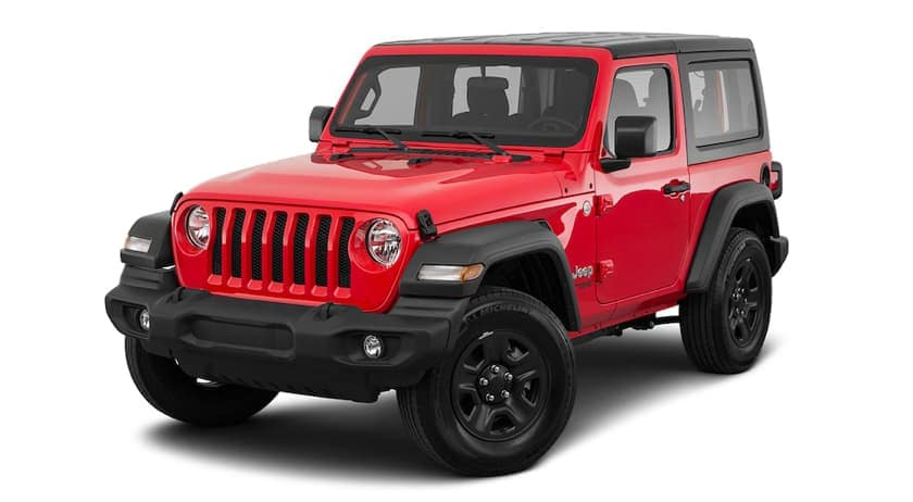 A red 2020 Jeep Wrangler is facing left.