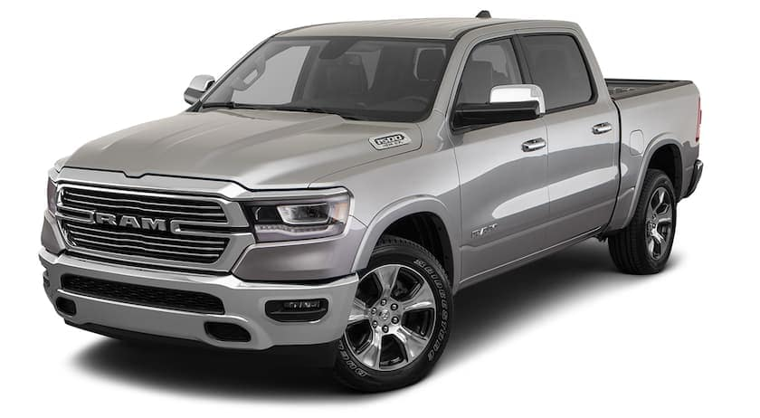 A silver 2020 Ram 1500 is facing left.
