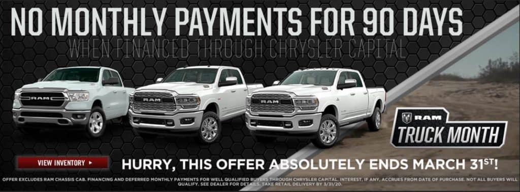Ram Truck Month No Monthly Payment for 90 Days