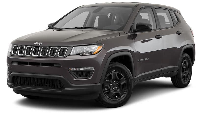 A gray 2020 Jeep Compass is angled left on a white background.