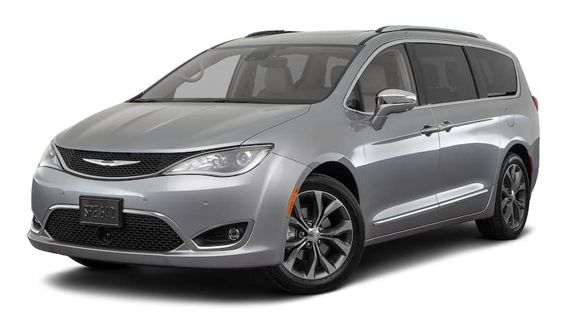 A silver 2020 Chrysler Pacifica is angled left.