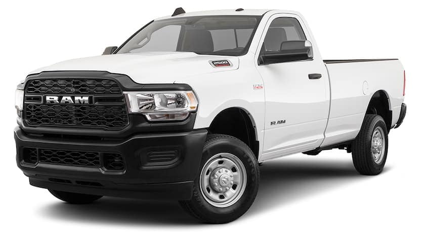 A white 2020 Ram 2500 Tradesman is angled left.