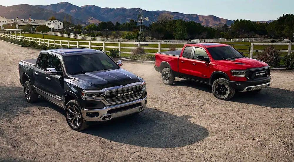 A black and a red Ram 1500 are both driving by a ranch near Florence, KY.