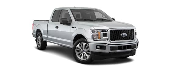 A silver 2020 Ford F-150 is angled right.