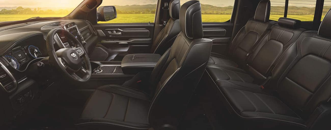 A side view of the black interior of a 2020 Ram 1500 is shown.