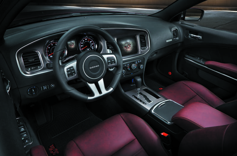 2014 Dodge Charger leather interior view of front dash