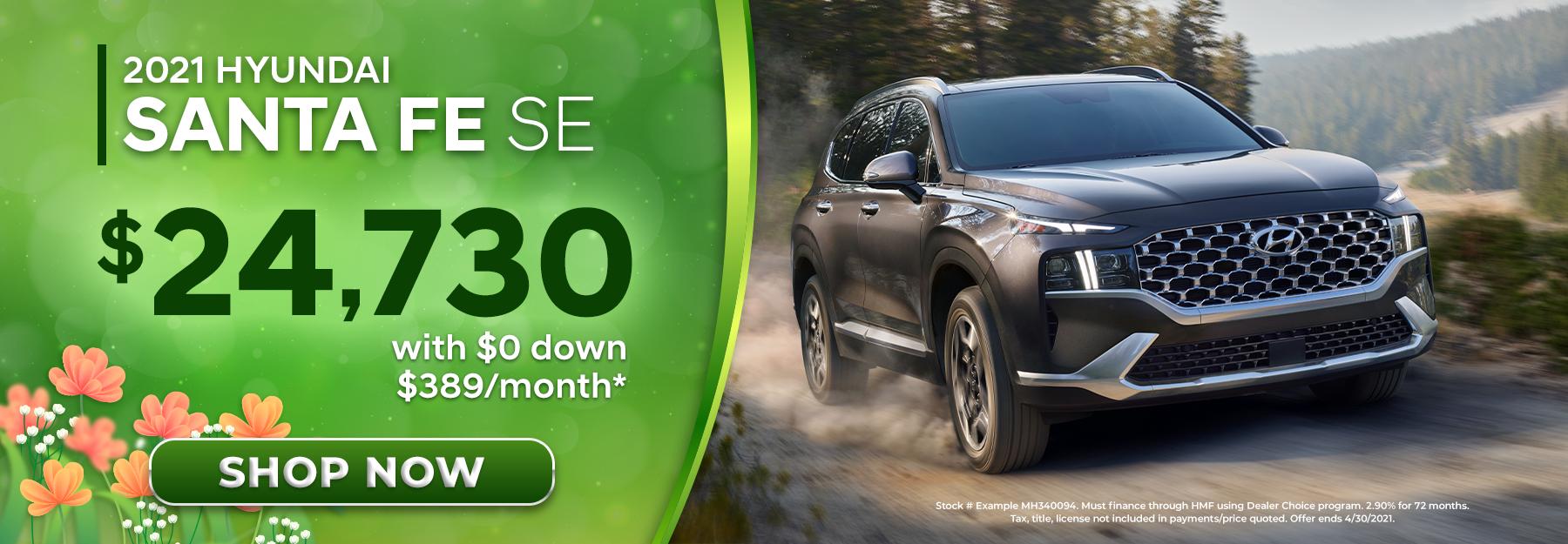 2021 Hyundai Santa Fe SE, $24,730, With $0 Down, $389/Month