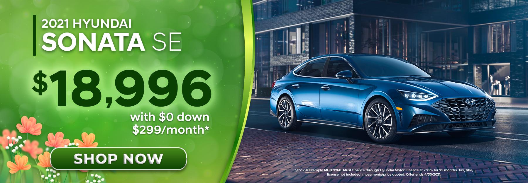 2021 Hyundai Sonata SE With $0 Down, $299/Month