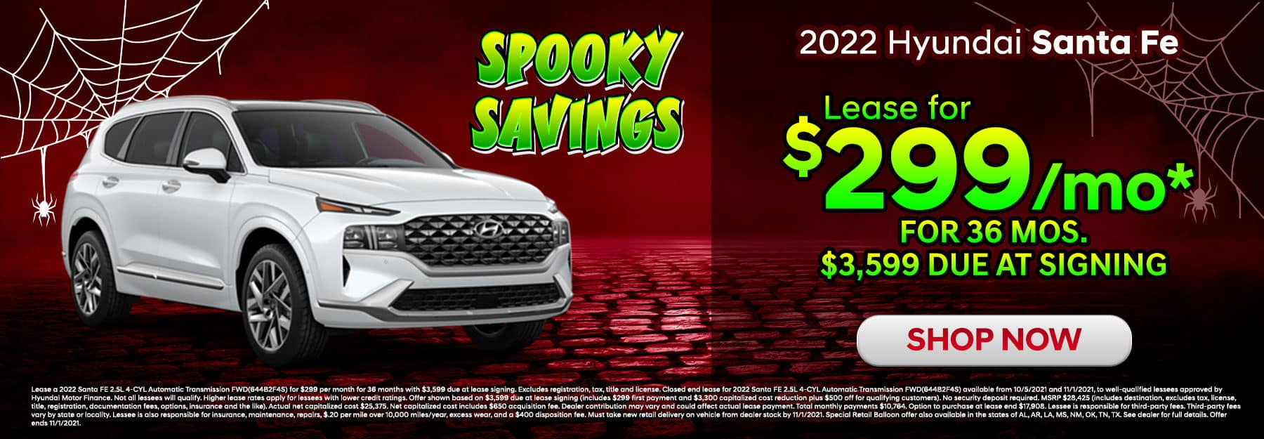 Lease a 2022 Hyundai Santa Fe for $299/mo.