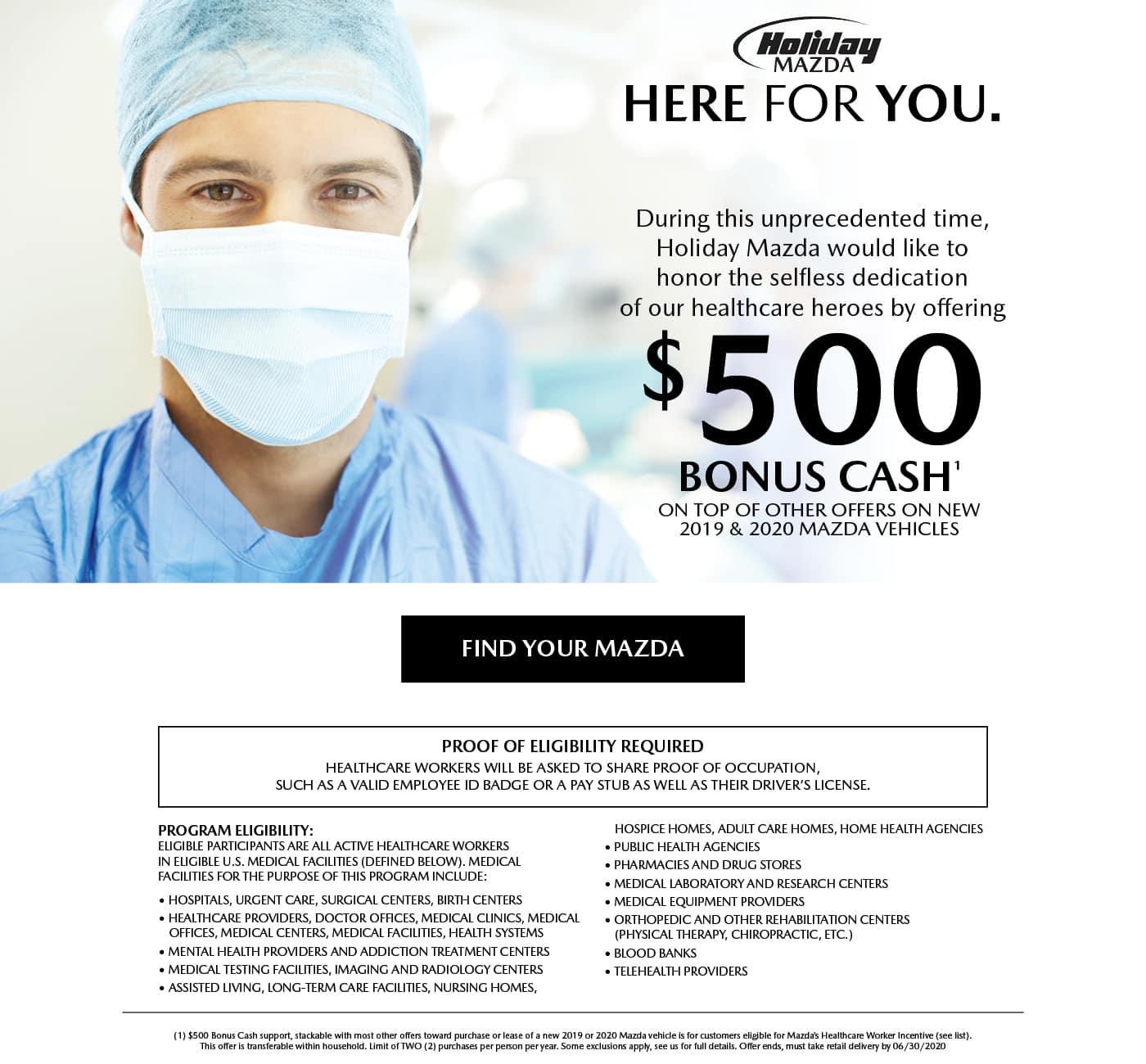 Holiday Mazda Healthcare Worker Essential Car Care Program