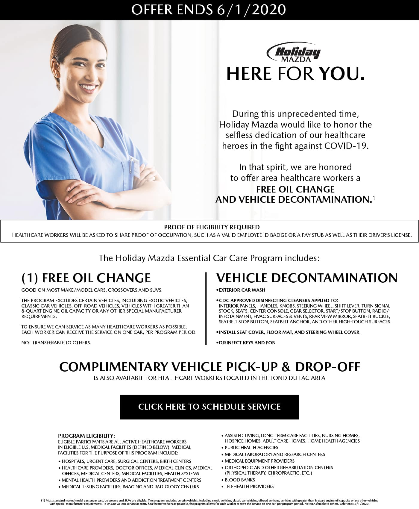 Holiday Mazda Healthcare Worker Essential Car Care Program
