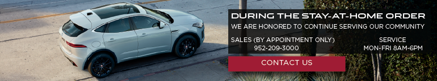 White e-pace on road near trees. During the stay-at-home order we are honored to continue serving our community. Sales, by appointment only. Service mon-fri 8am-6pm. click to contact us.