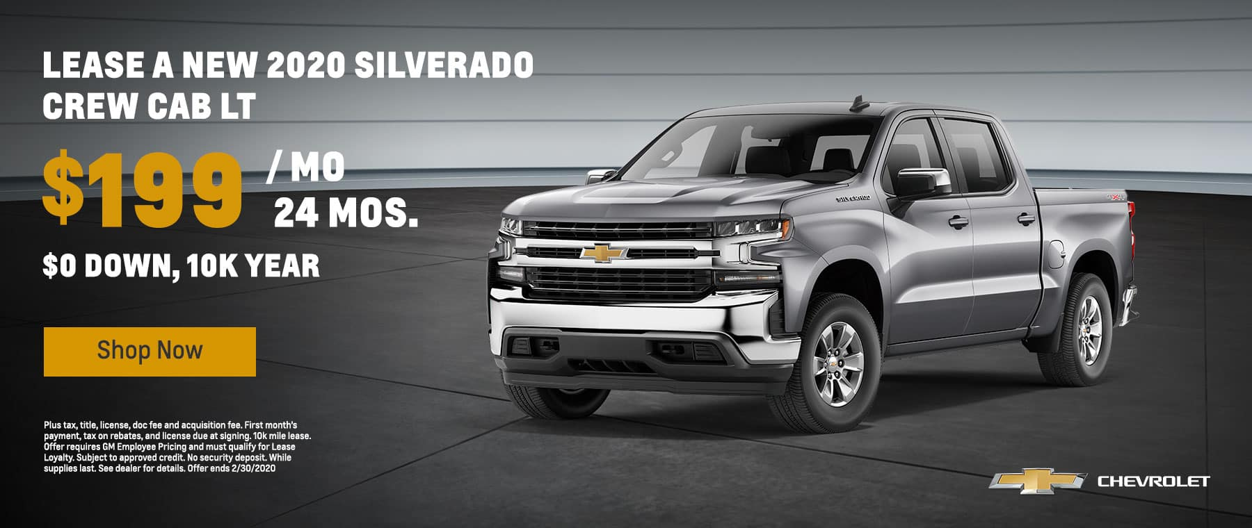 Silverado - $199 per month with $0 down for 24 months