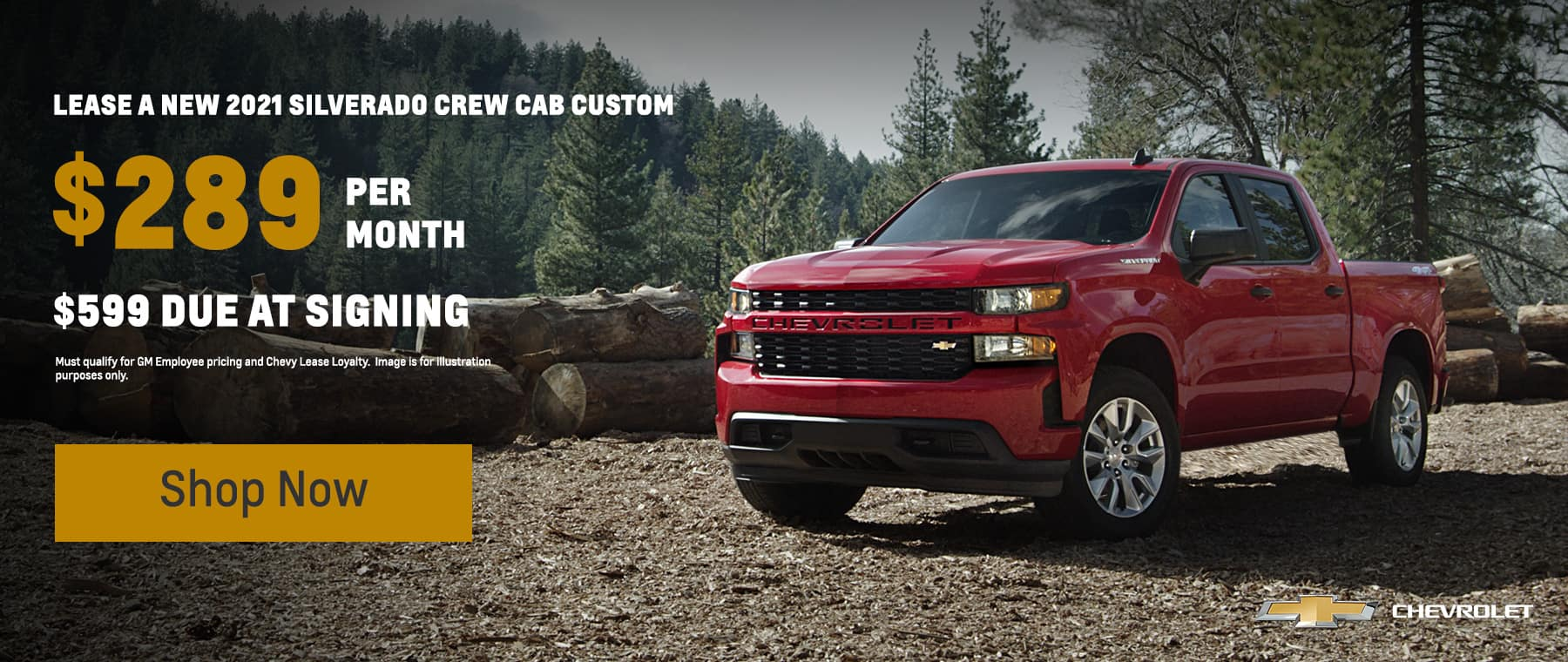 2021 Silverado Crew Custom $289 with $599 due at signing 24 months, 10k