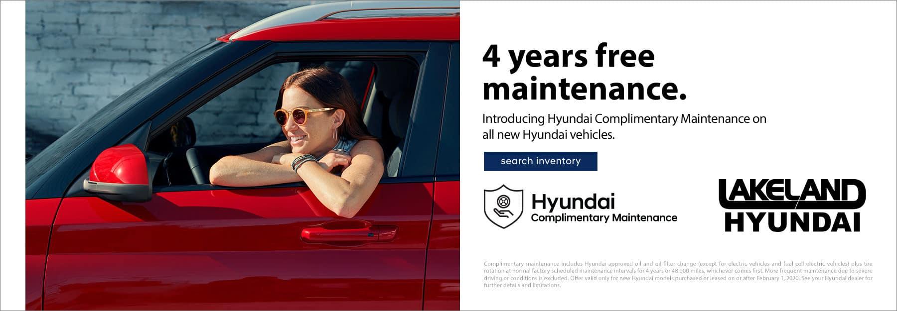 4 Years Complimenatary Maintenance at Lakeland Hyundai